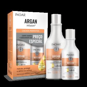 INOAR Argan Infusion Perfect Curls Duo Kit - banguotų ir garbanotų plaukų rinkinys, 500 ml+250 ml