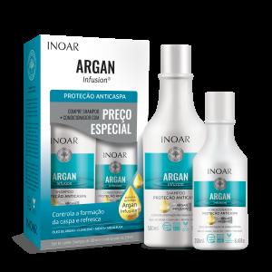 INOAR Argan Infusion Anti-dandruff Duo Kit - riebios, pleiskanotos galvos odos priežiūros rinkinys,
