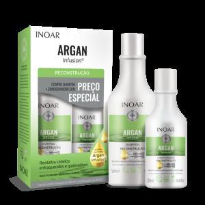 INOAR Argan Infusion Reconstruction Duo Kit - rekonstruojantis rinkinys, 500 ml+250 ml