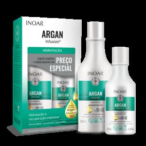 INOAR Argan Hydrating Duo Kit - plaukus drėkinantis šampūno ir kondicionieriaus rinkinys, 500 ml+250