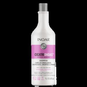 INOAR CicatriOndas Shampoo - garbanotų plaukų šampūnas, 1000 ml