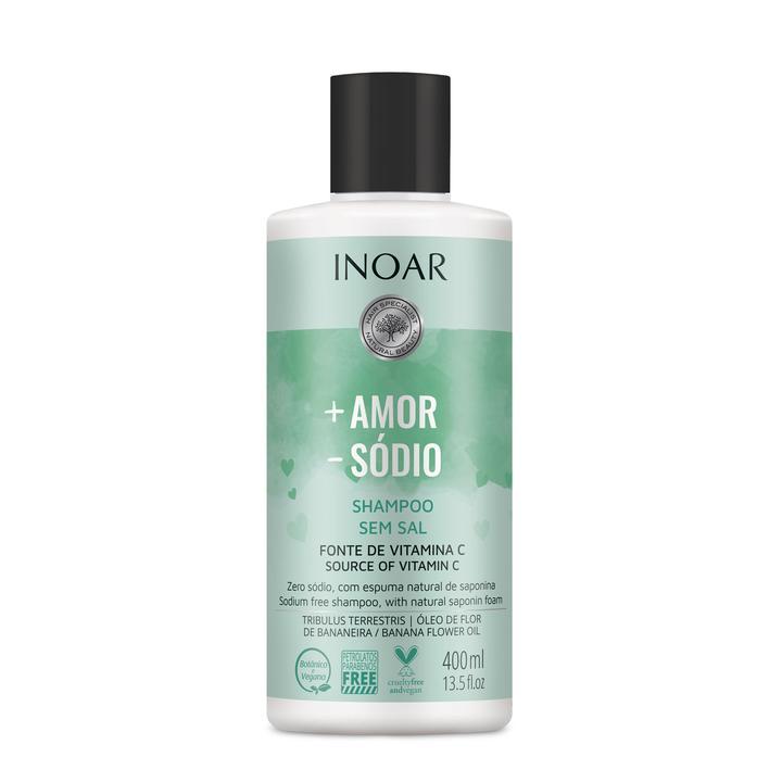 INOAR More Love Less Salt Shampoo – šampūnas be druskų, 400 ml