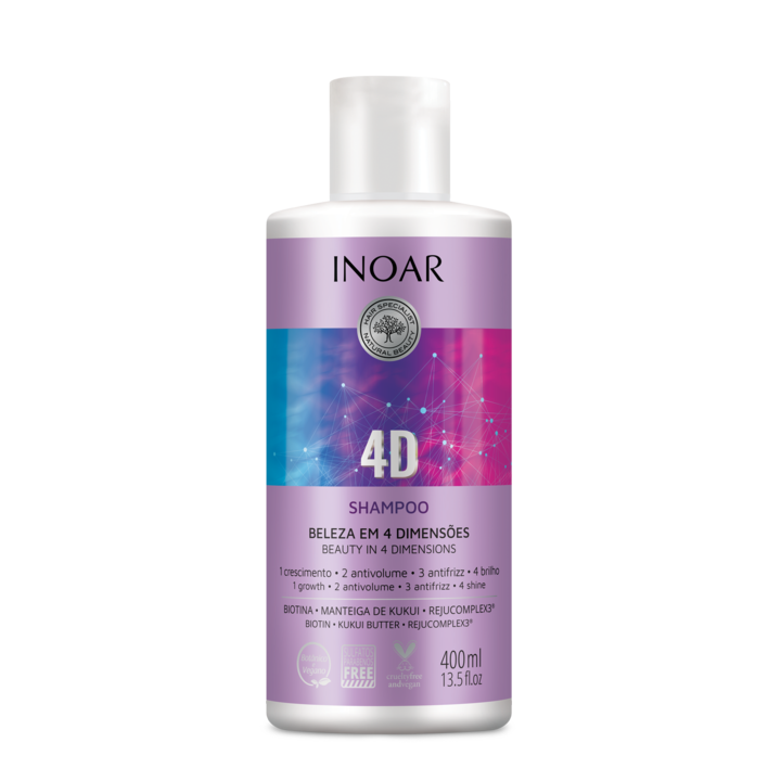 INOAR 4D Shampoo - 4 dimensijų šampūnas, 400 ml