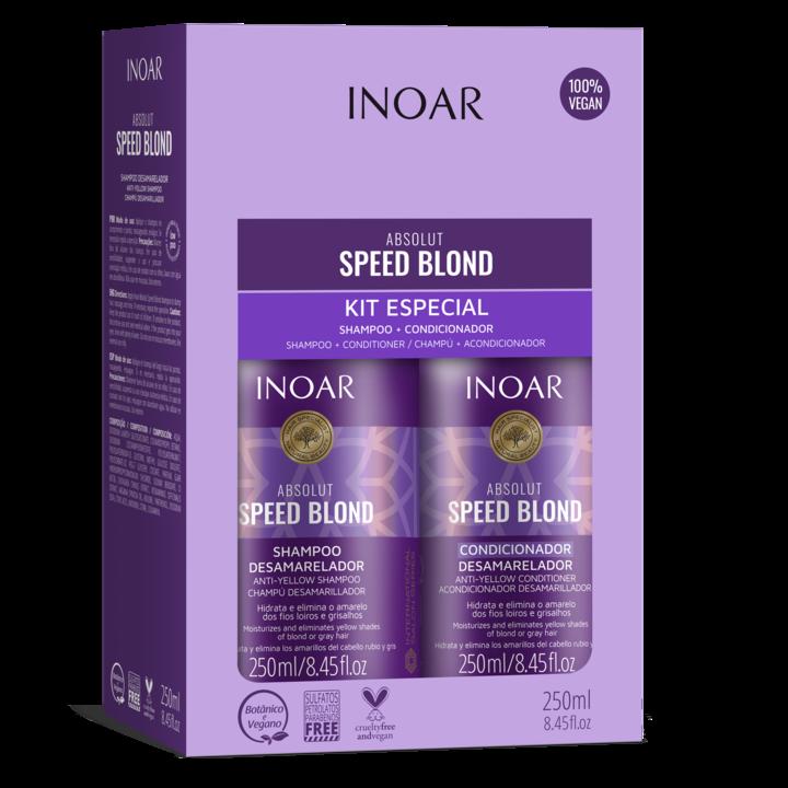 INOAR Speed Blond Duo Kit - priemonių rinkinys šviesiems plaukams, 2x250 ml