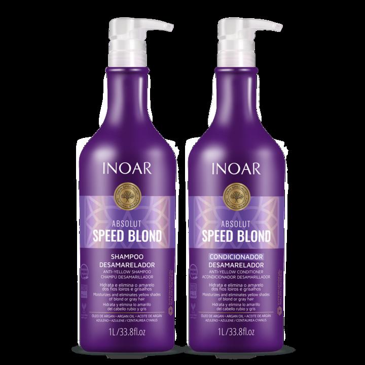 INOAR Speed Blond Duo Kit - priemonių rinkinys šviesiems plaukams, 2x1000 ml