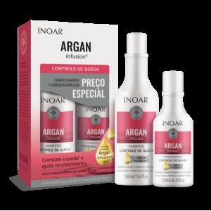 INOAR Argan Infusion Loss Control Duo Kit - priemonės stabdančios plaukų slinkimą, 500 ml+250 ml