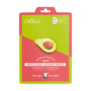 L'BIOTICA atkuriamoji veganiška lakštinė veido kaukė su avokadų ekstraktu, 23 ml