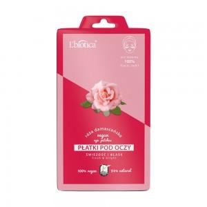 L'BIOTICA veganiški drėkinamieji skaistinamieji paakių lapeliai su rožių ekstraktu, 2 vnt.