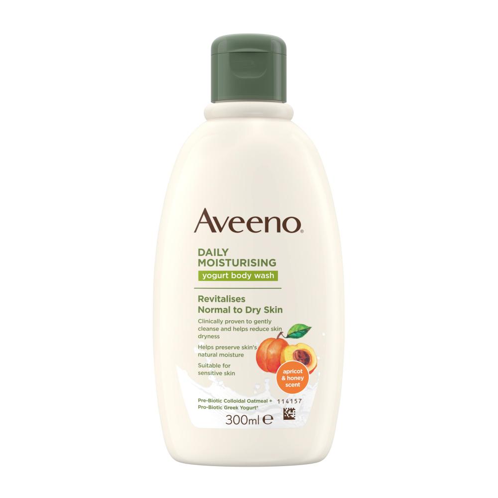 AVEENO® kasdienis drėkinamasis jogurtinis kūno prausiklis, abrikosų ir medaus kvapo, 300 ml