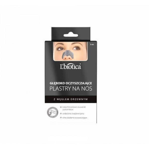 L'BIOTICA gilaus poveikio valomieji nosies pleistrai su aktyvuota anglimi, 3 vnt.